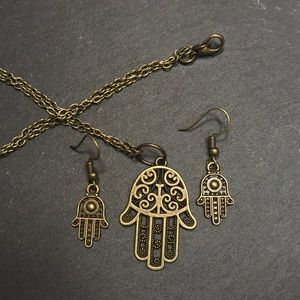 Jewelry - Hamsa pendant necklace and earring set in bronze